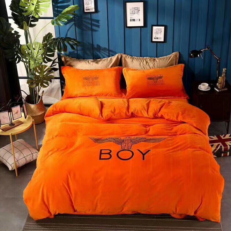 Großhandel Winter Velvet Plüsch Orange Markebettwäsche Set Jungen