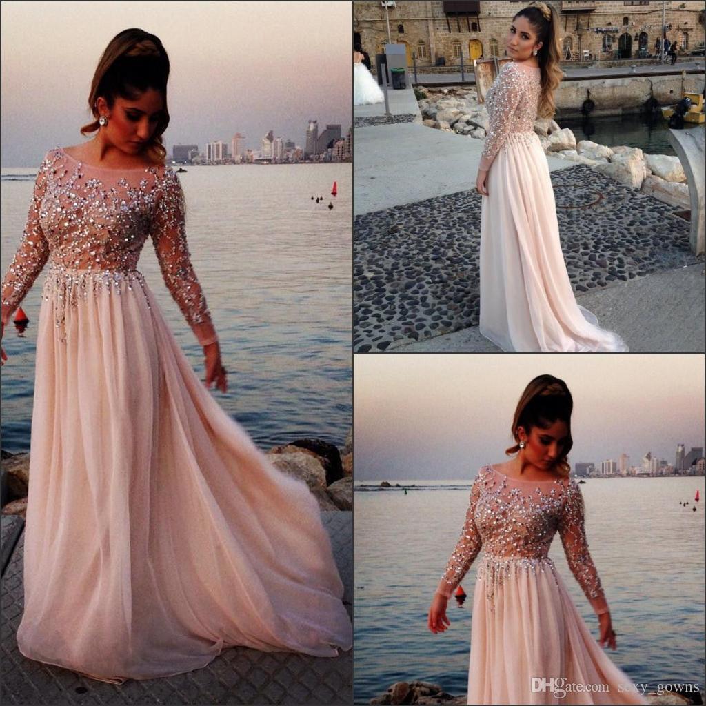 2016 Long Prom Dresses Elie Saab Sparking Crystal Beading Sheer ...