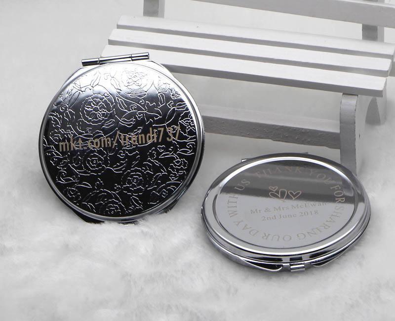 Personalizzato Personalizzato Comodo Compact Specchio rotondo Chrome Silver Pocket Specchio da taschino Regali di Bomboniera + Black Black Black Blocco Drop Shipping