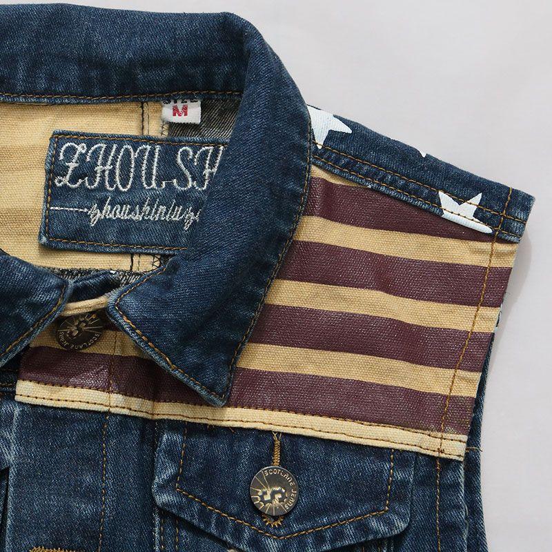 2016 New fashion Mens Denim Vest Jeans Vest for Men Cowboy Vest Sleeveless Denim American flag printed Star Jacket Denim Coat