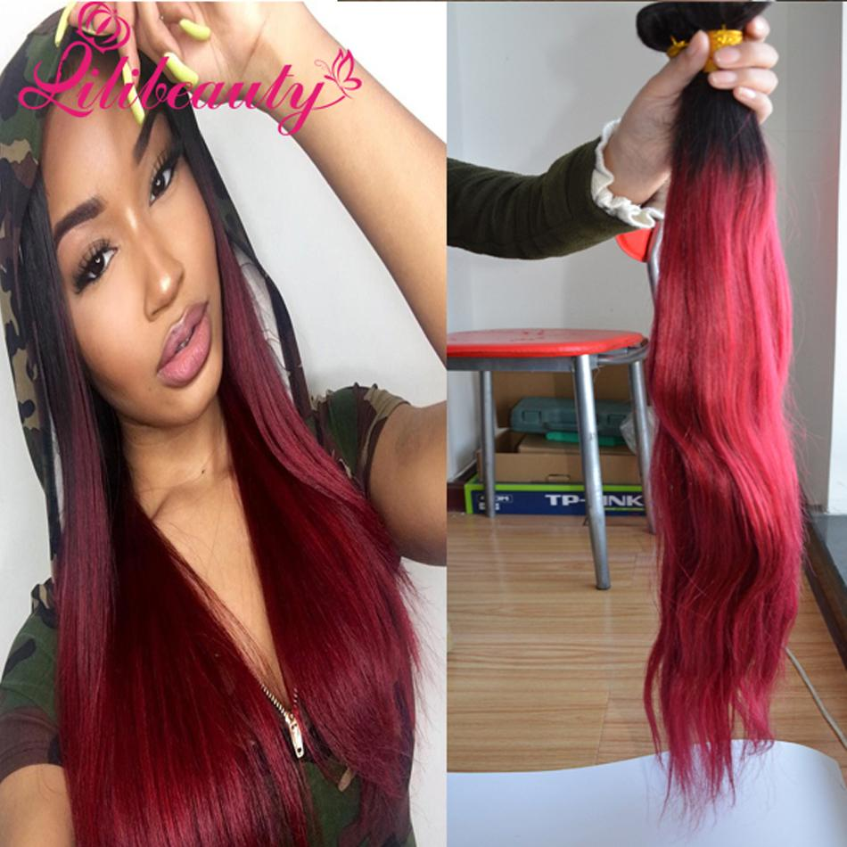 Brazilian Virgin Ombre 1b Burgundy Hair Weave Bundles Color Virgin
