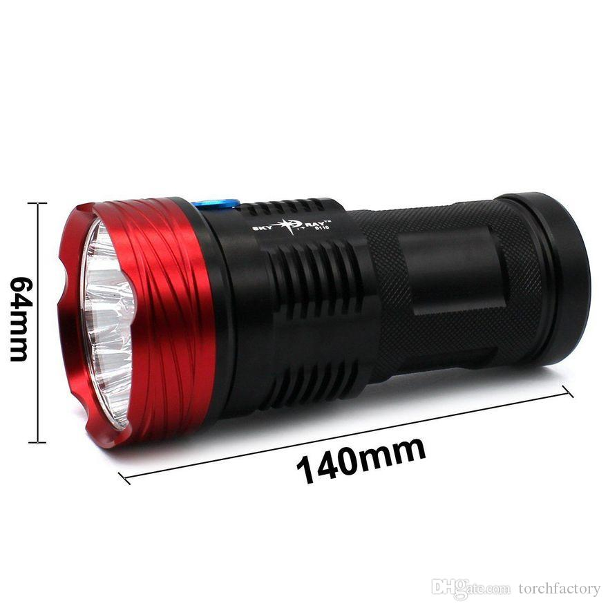 16000 lumens SKYRAY King 10T6 LED Flashlamp 10 x CREE XM-L T6 LED Flashlight Torch Lamp Light For Hunting Camping