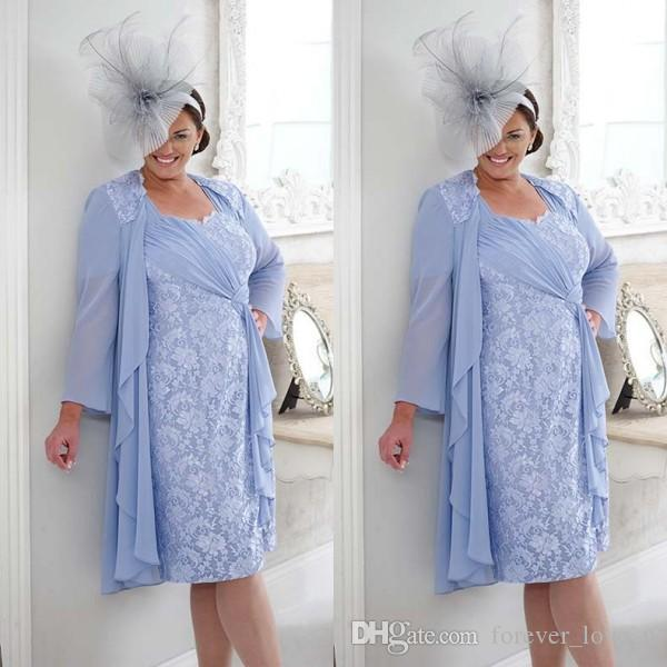 dd338a2cfc Plus Size Mother Of The Groom Bride Dress Short Knee Length Ruched Chiffon  Ribbon Lace Column Wedding Guest Gowns With Long Sleeve Jacket Mothers Dress  Navy ...