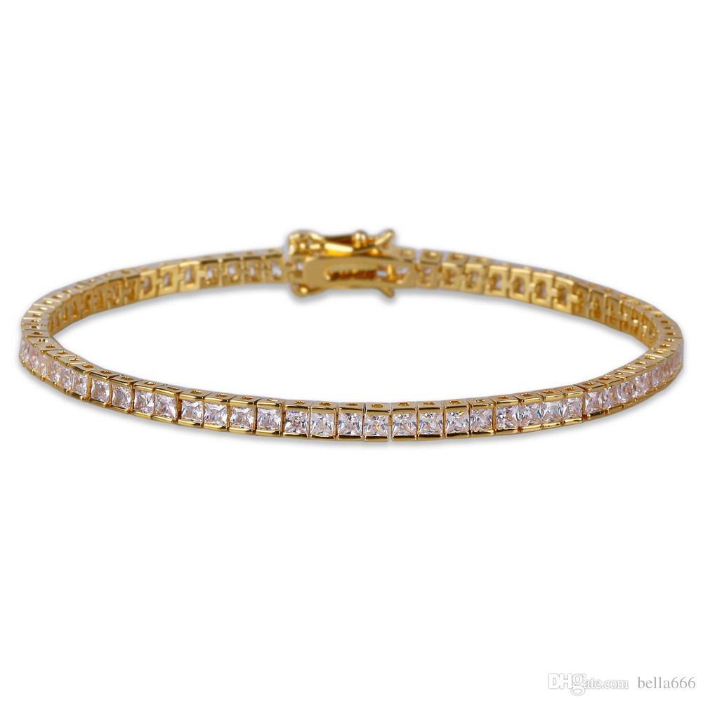 4mm Square Cubic Zirconia Hiphop Bracelets Women Men 1 Row Blingbing Zircon Bangle Copper Hip Hop Toggle clasps CZ Tennis Link Chain Jewelry