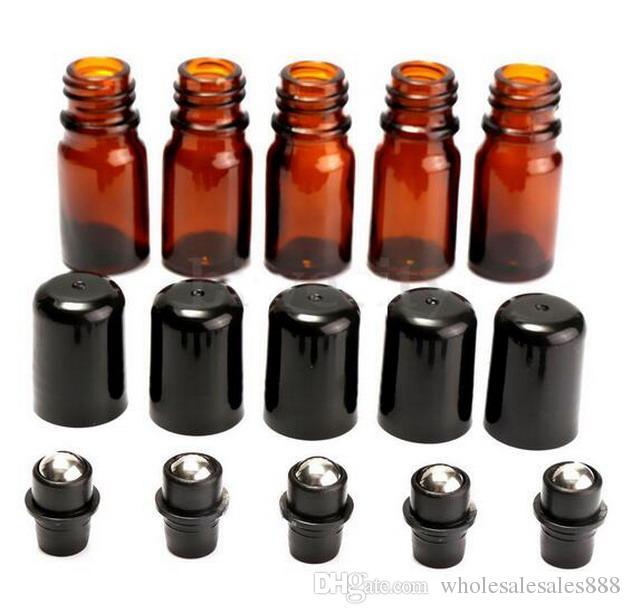 공장 가격 롤에 유리 앰버 병 에센셜 오일 액체 금속 롤러 공 5 ml 새로운 / DHL에 의해 무료 배송