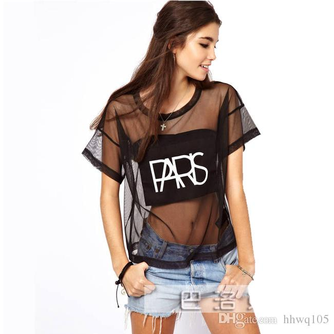 New Womens Sheer Mesh T Shirt Tees Short Sleeve Paris Letters Print