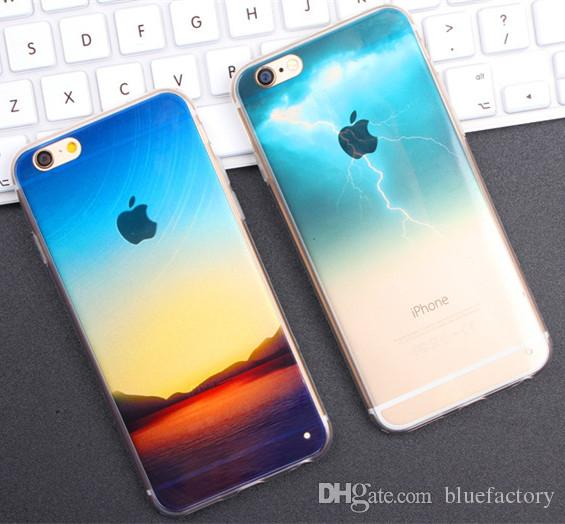 Half Clear TPU Scenery Case for iphone 5s 6 6s Plus Lightning Starry Sky Fashion City Ocean View Back Ultra-Thin Skin Phone Cover