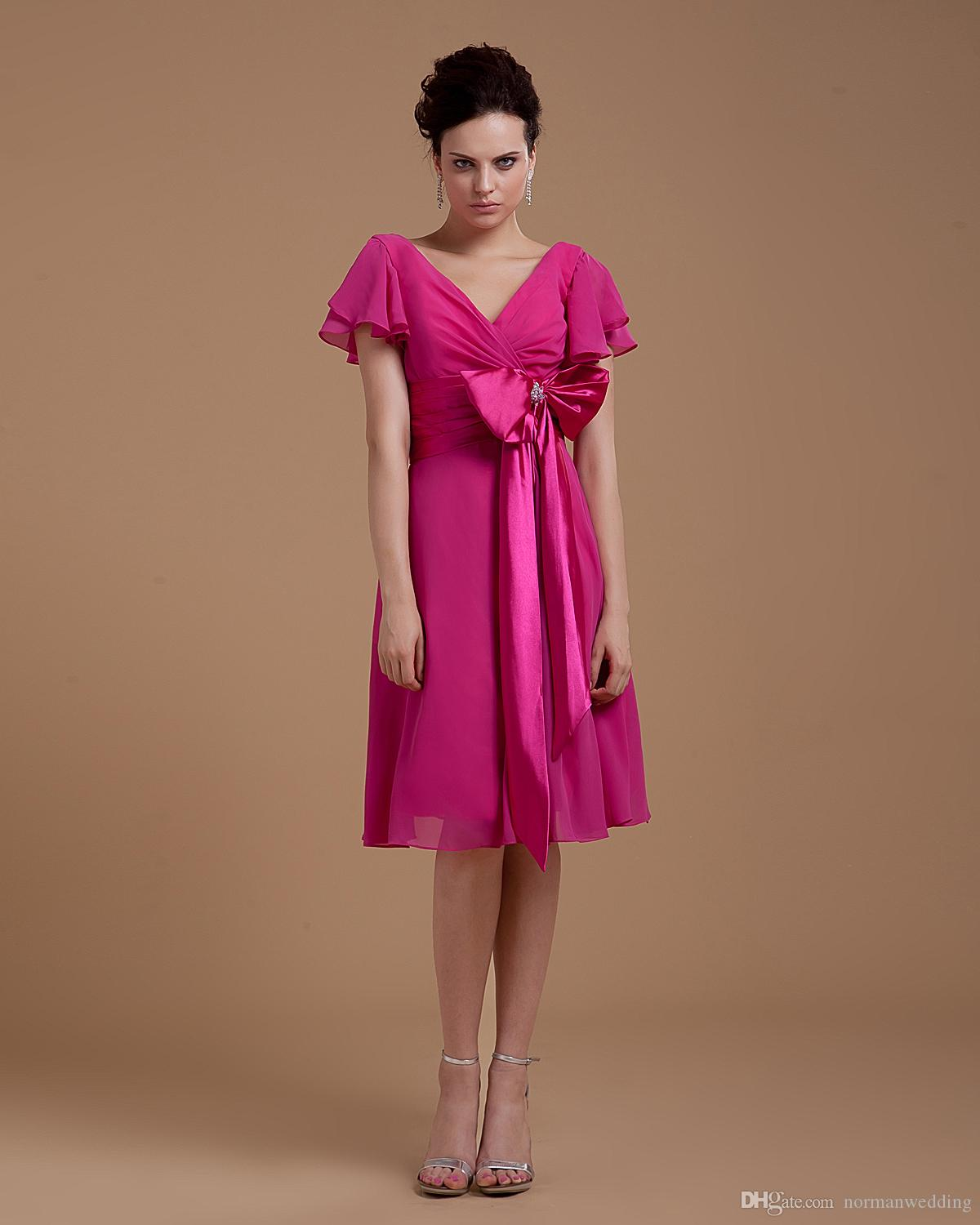 Vintage fuchsia bridesmaid dresses 2017 cheap bow knee length vintage fuchsia bridesmaid dresses 2017 cheap bow knee length cocktail party gowns chiffon maid of honor gowns green bridesmaid dresses long gowns from ombrellifo Image collections