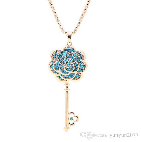 High-grade Austrian Crystal Wedding Bride Rose Flowers Keys Pendants Real Gold Charm Chokers Necklaces Fine Jewelry Accessories For Women