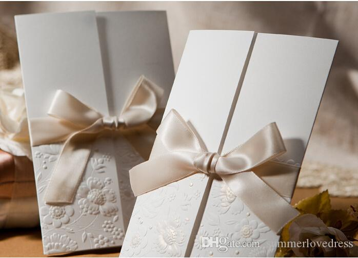 Classic Wedding Invitations Ivory Floral Personalized Bow Ribbon Wedding Party Invitations Supplies Printable Cards