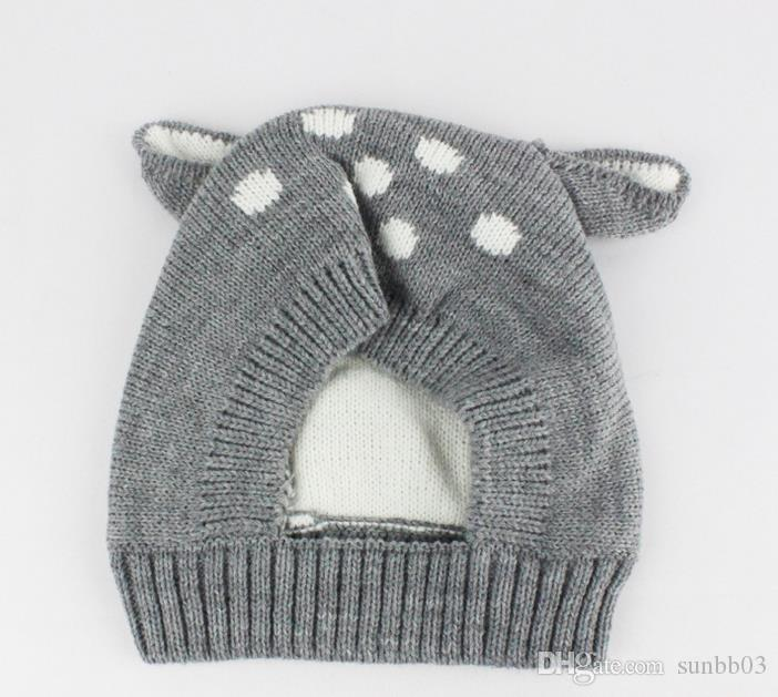 New Autumn Winter Cute Infant Baby Cartoon Deer Ears Hat Kids Knitted Cap Girls Boys Warm Beanies Child Babies Hats M73