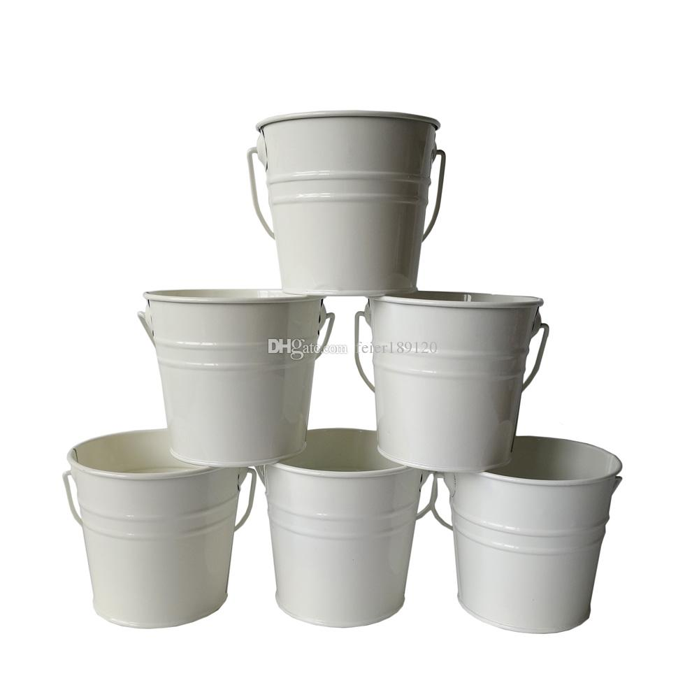 2018 D10.5xh9.5cm Small Rustic Metal Pail Garden Bucket Tin Box Iron Pots  White Wedding Buckets From Feier189120, $2.82 | Dhgate.Com