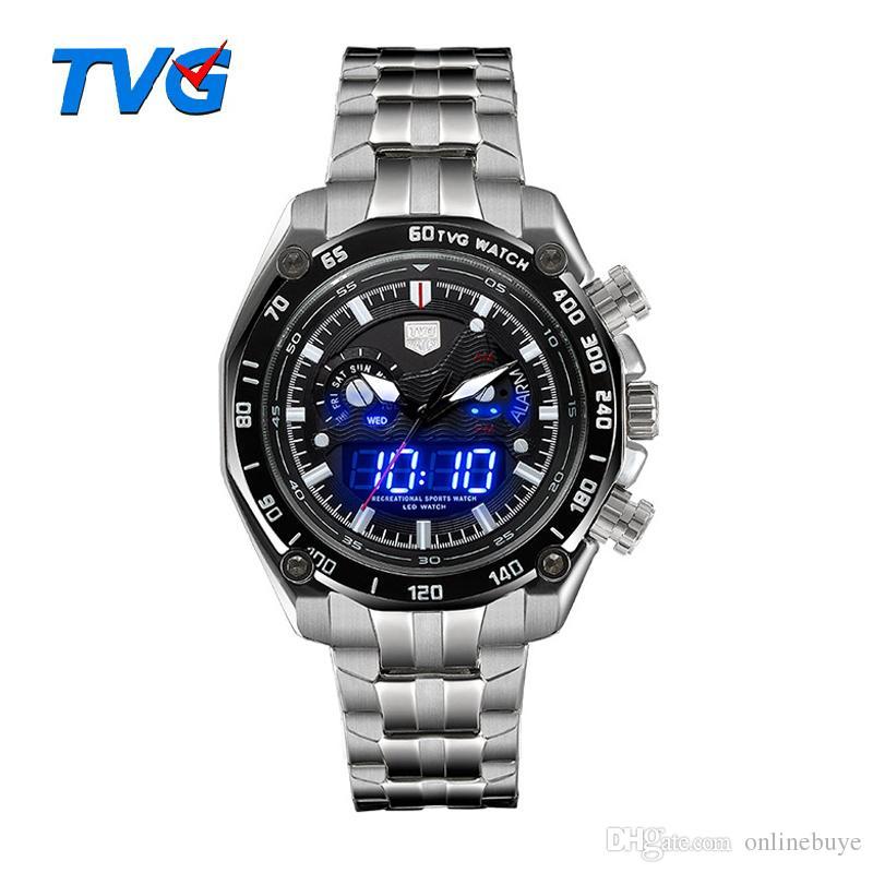 0bb820b4064 Compre TVG Relógio De Luxo Da Marca Dual Movt Analógico Digital Militar LED  Relógios De Pulso Dos Homens 5ATM Resistente À Água Esportes Dual Display  ...