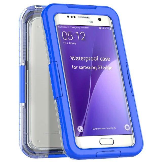 Su geçirmez Darbeye Dayanıklı Pc + silikon Şeffaf Clear Telefon kılıfı Kapak için Samsung Galaxy S6 S7 S7 kenar Not 5 Su geçirmez Zırh