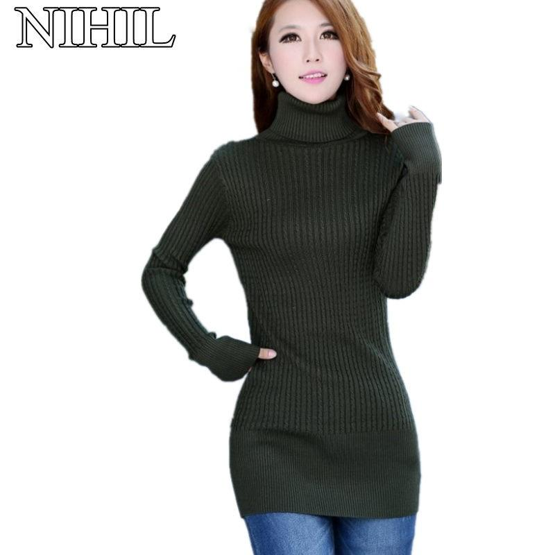ddcfb8dc662 Wholesale- Oversized Turtleneck Sweaters 2016 Women s Fashion Long-Sleeve  Slim Knitted Sweater Ladies Warm Pullovers Knitwear Clothing Tops