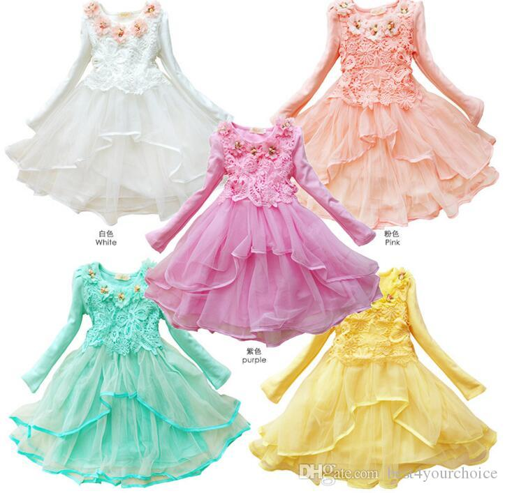 3-12 Years Old Girls Clothes New Fashion 2016 Long Sleeved Lace Dress Girl Flowers Children Princess Party Dresses