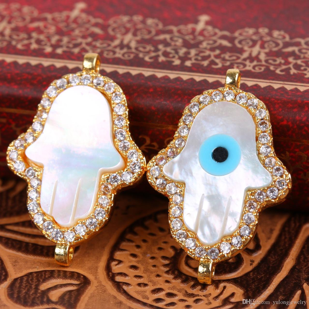 2017 Hot Sale Brand New Hamsa Hand Evil Eye Shell Brass Jewelry Connectors a