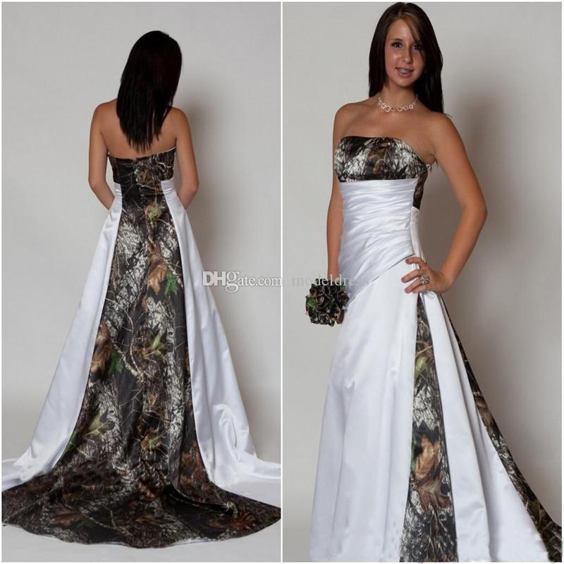 New Design Camo Wedding Dress 2018 Strapless Pleats A Line Sweep Train  Satin Country Beach Bridal Gowns Plus Size Cheap Custom Made