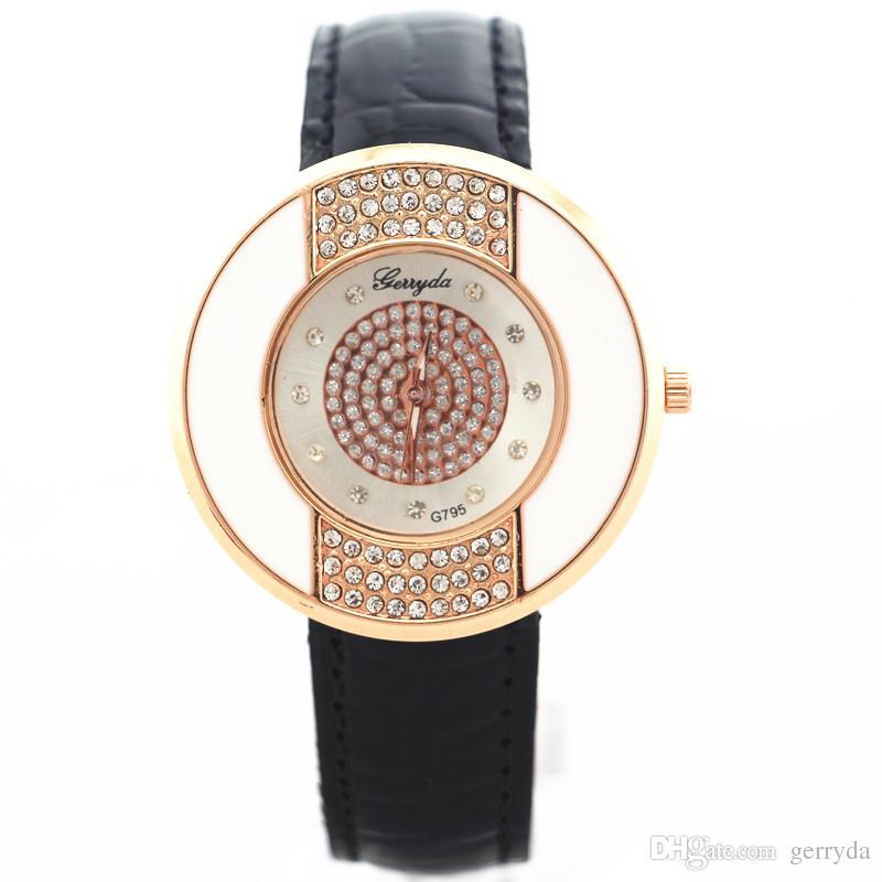 PVC-Lederband, rundes Gehäuse aus Gold mit Kristalldeko, Zifferblatt aus Kristall, Quarzwerk, Gerryda Damenuhr aus Leder, 795
