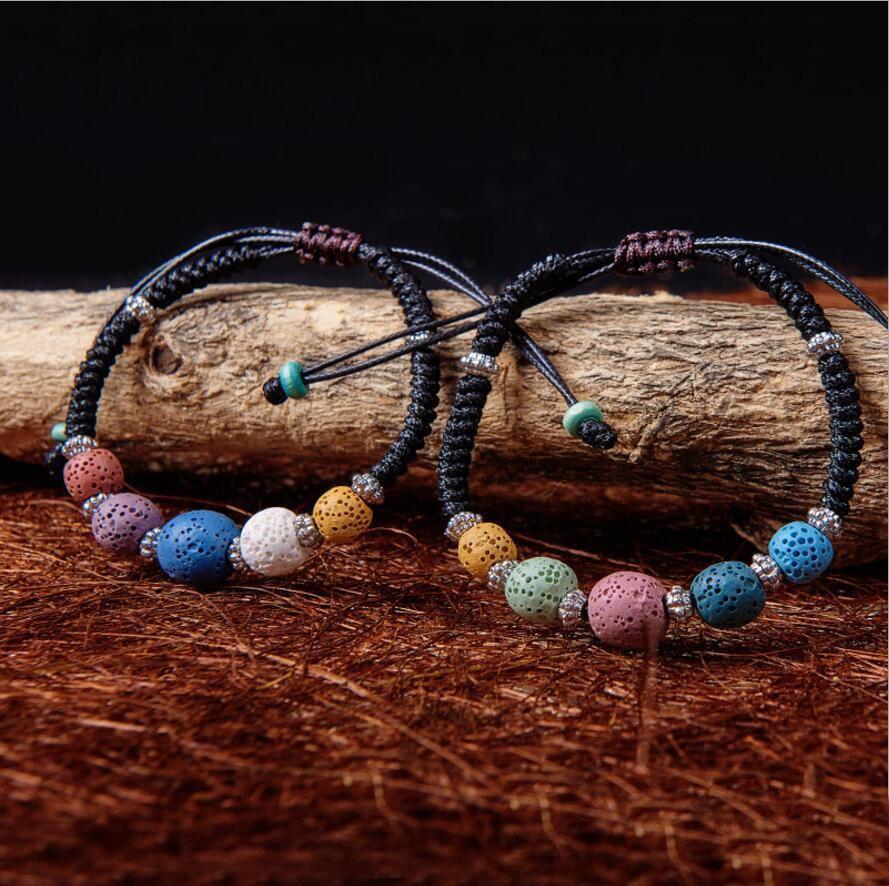 Moda colorizada natural de la lava pulsera pulsera perfume esencial aceite difusor pulsera ajustable étnico tejido cuerda accesorios joyería mujeres