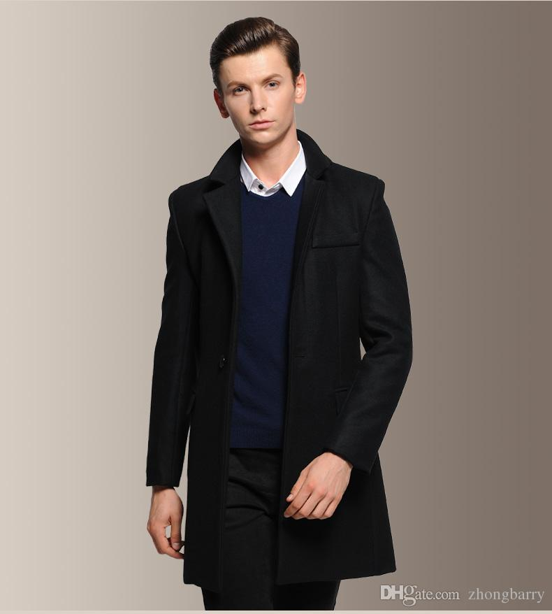 2018 Mc10 Long Black Trench Coat Men Fashion Korean Jacket Mens ...