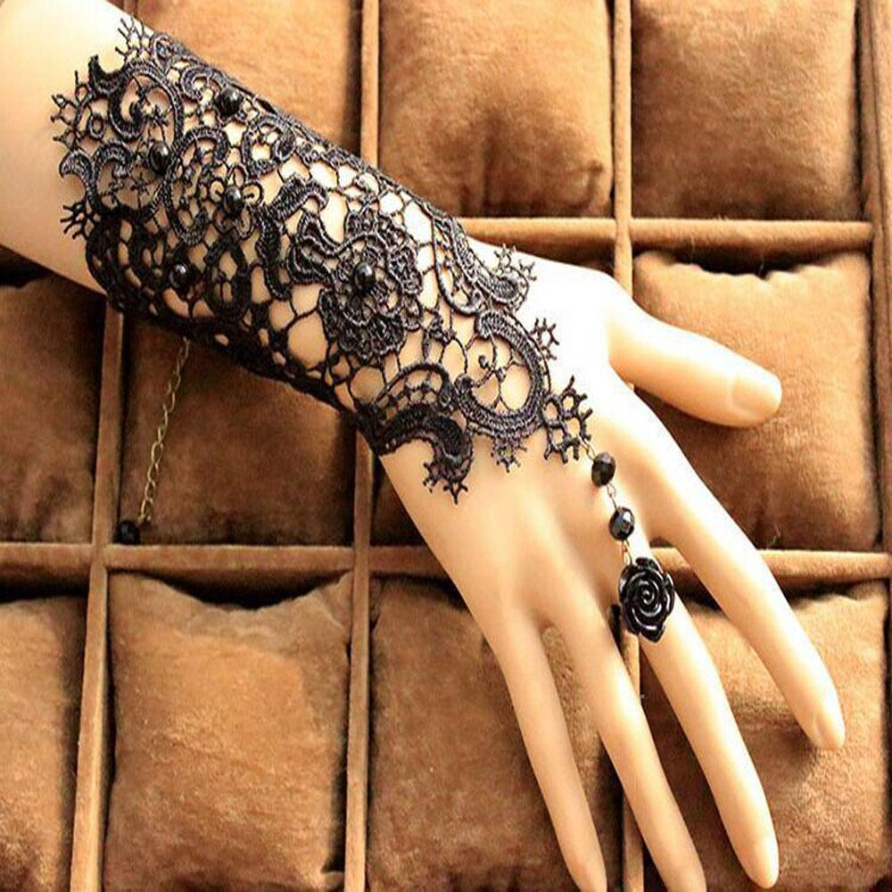 Wholesale-Free Shipping In Stock 1Pair Fingerless Lace Wedding Gloves New Fashion White,Black Bride Bridal Gloves With Ring Bracelet