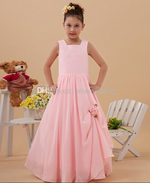 Nuova Collezione Piano Lunghezza A-line Little Princes Pink Dress Girl Handmade Fiore Zip posteriore Design professionale Custom Made in stile europeo