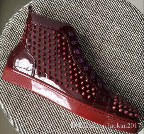 ce90219ec61 2018 New High Top Studded Spikes Casual Flats Red Bottom Luxury ...