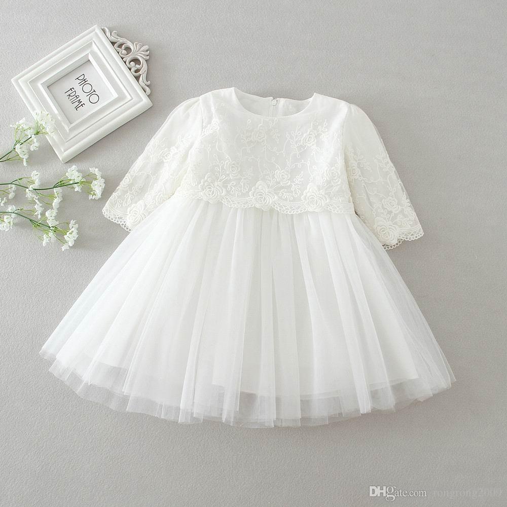 Retail pasgeboren baby meisjes prinses jurk verjaardagsfeest formele doopjurk kant lange mouw jurk 0-2t 9605bb
