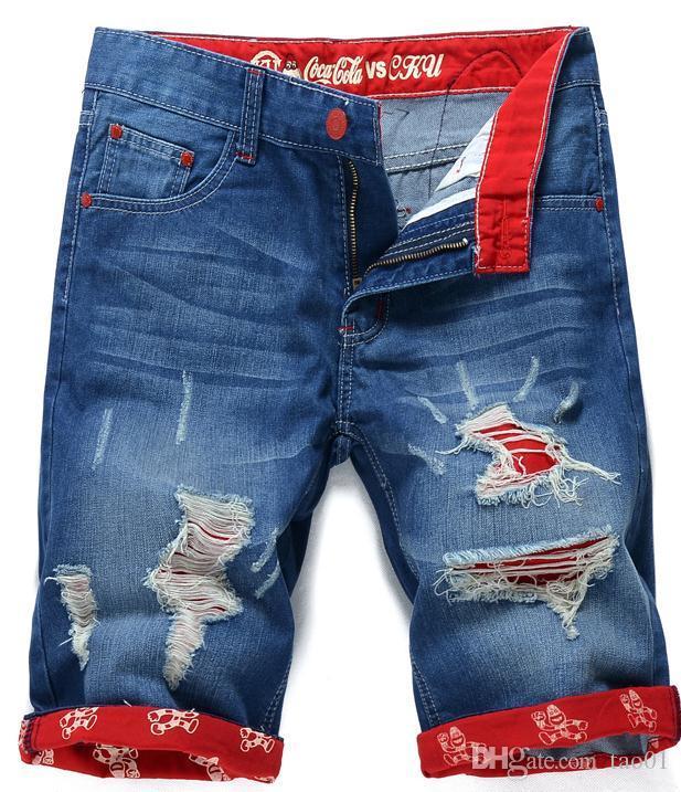 Sommer lässig baumwolle herren jean shorts modemarke designer retro männer loch knielangen denim shorts jeans hosen plus größe fgjb9901-1