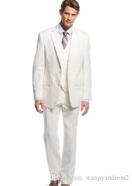 O projeto o mais atrasado feito sob encomenda do marfim do noivo do smoking considerou ternos formais o negócio entalhado lapela do negócio do blazer veste ternos do Groomsman revestimento + calças + colete
