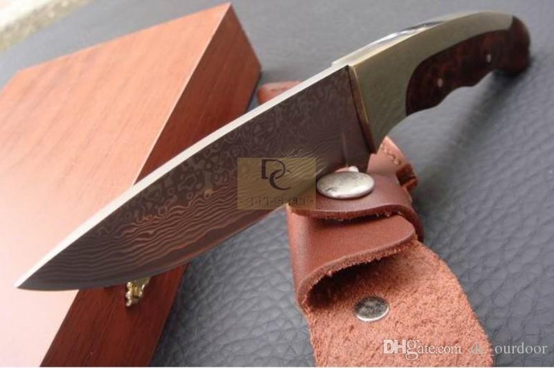 DK001T Handgefertigt Classic DAMASCUS Fixd DAMASCUS Klingenmesser Kupfer + Roter Holzschatten Hohe Qualität mit Lederscheide