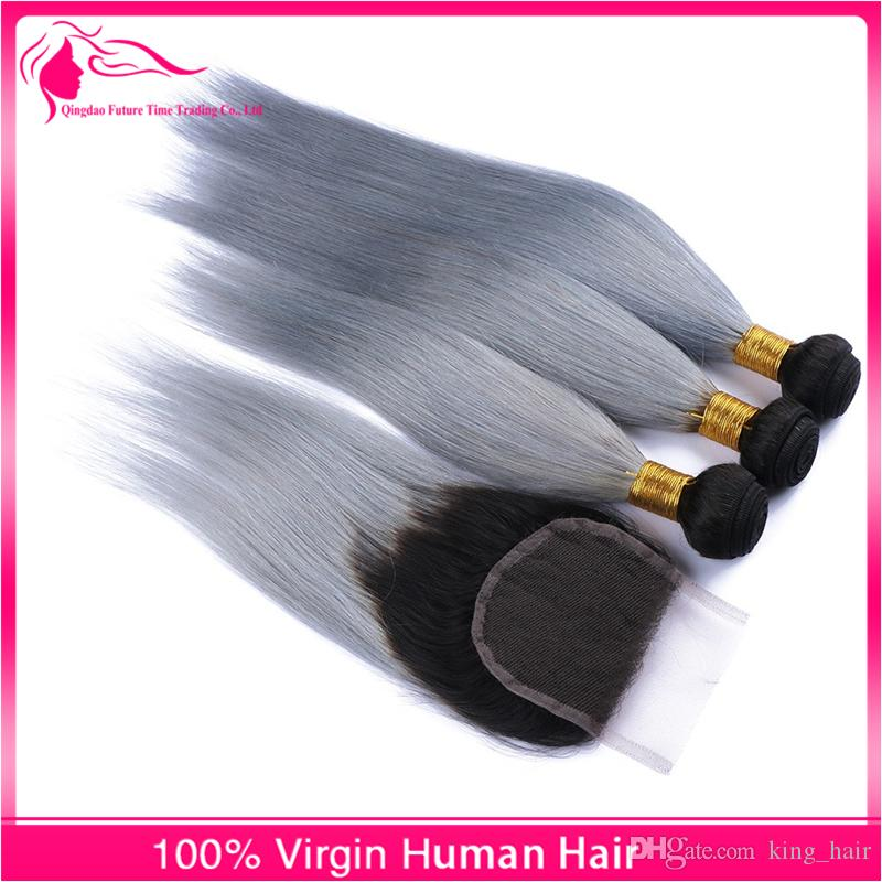 Free Parting Brazilian 8A Virgin Human Hair With Lace Closure 4x4 Ombre Color 1B/Grey Lace Closure With 2 Tone Ombre Hair Weaves