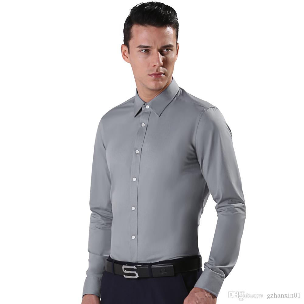 2017 2016 Grey Long Sleeve Men Shirts Men'S Long Sleeve Slim Fit ...