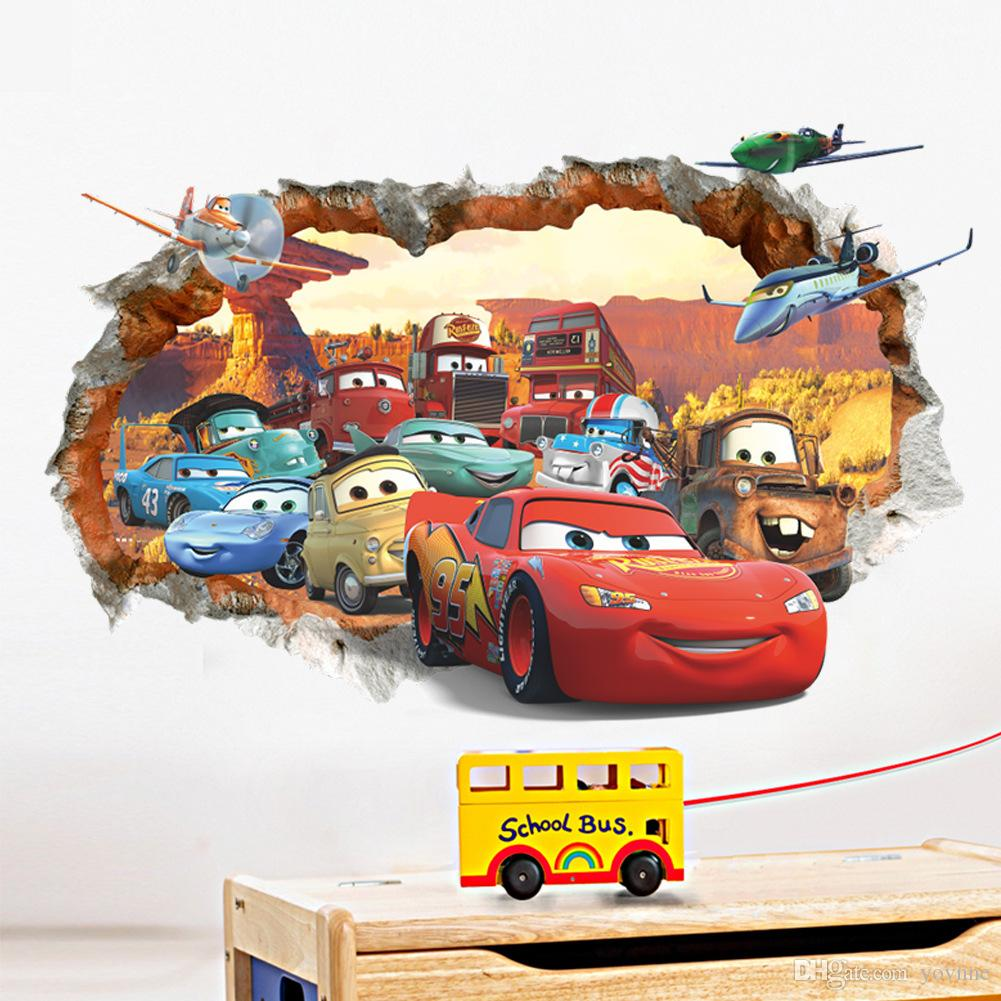 New cars 3d broken wall stickers children bedroom background wall see larger image amipublicfo Images