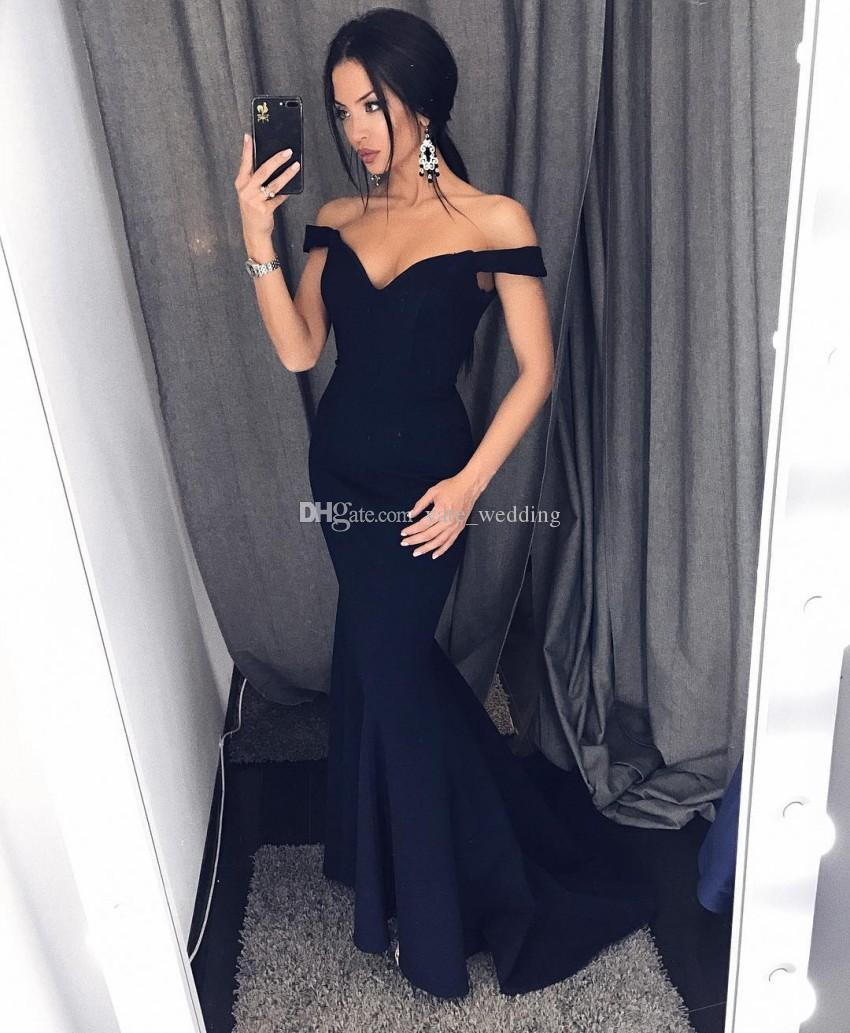 Navy Blue Mermaid Evening Dresses 2018 Elegant Off Shoulder Satin Black Prom Dresses Sexy Evening Gowns Sweep Train Zipper Up
