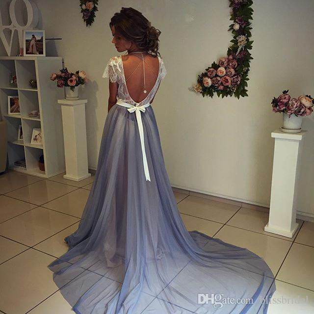 Illusion Tulle Evening Dresses 2016 Sweep Train Runway Fashion Party Gowns Pleats Crew Neck Embroidery A-line Party Dresses In Stock