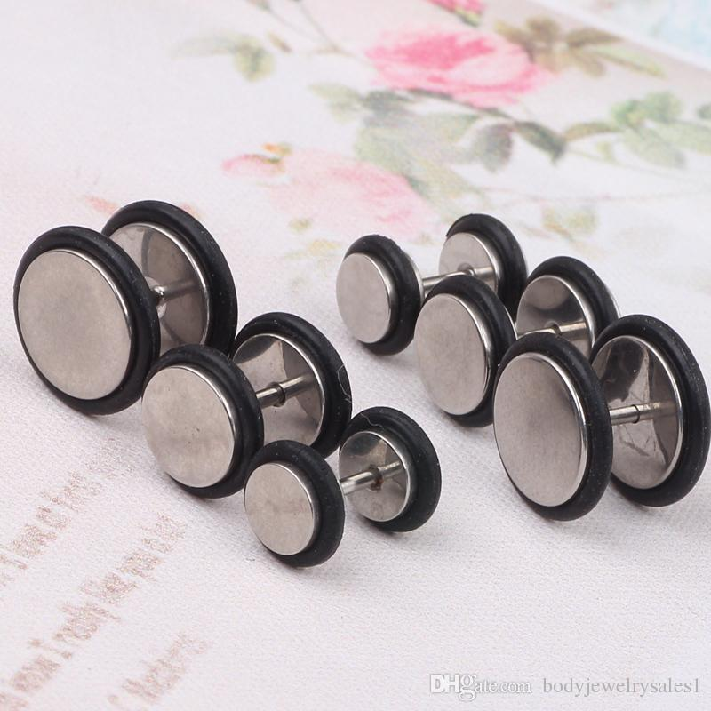 316L Stainless Steel Fake Cheater Mens Ear Plug Earring Stud Stretcher mix6/8/10mm with O ring piercings