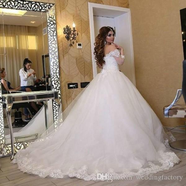 Gorgeous Arabic Wedding Dress Puffy Ball Gown Off the Shoulder Lace Appliques Top Corset Back Bridal Gowns Custom Made Bride Wear Train
