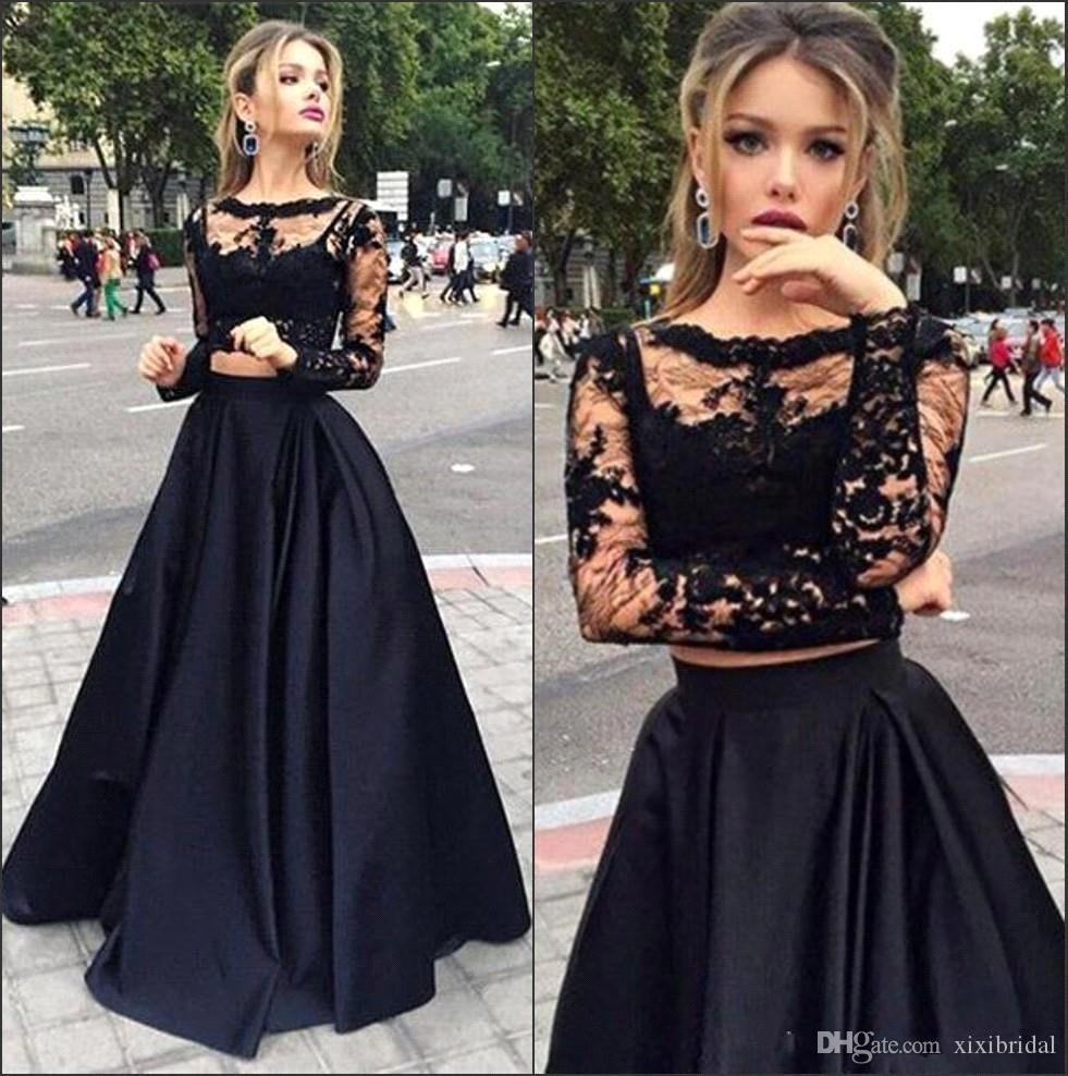 2016 New Black Two Pieces Evening Dresses See Through Long Sleeves Lace Top Satin A line Floor Length Prom Dresses