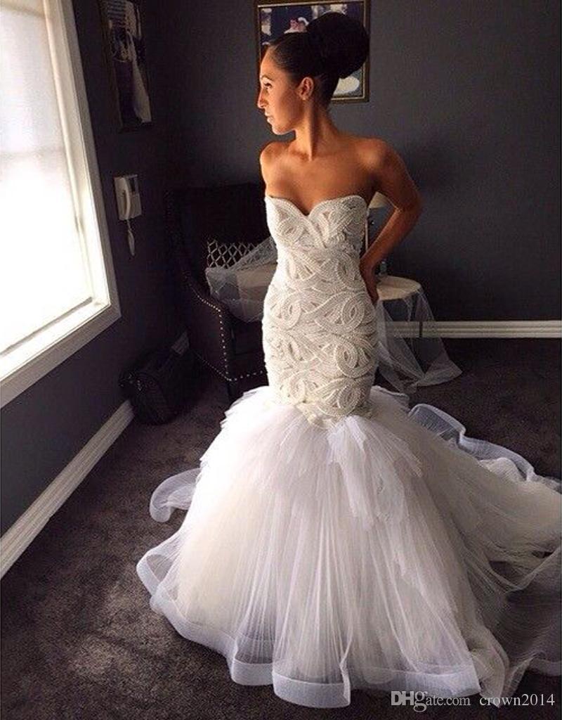 2019 Perlas cordón de la sirena de los vestidos de boda atractivo de Tulle vestidos de boda Vestido de Noiva lujo espalda abierta tribunal tren vestidos de novia