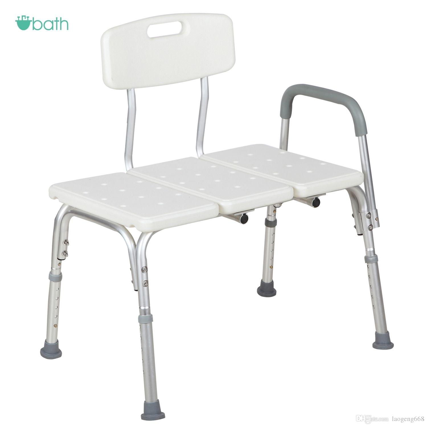 2018 Shower Chair 10 Height Adjustable Bath Tub Bench Stool Seat ...