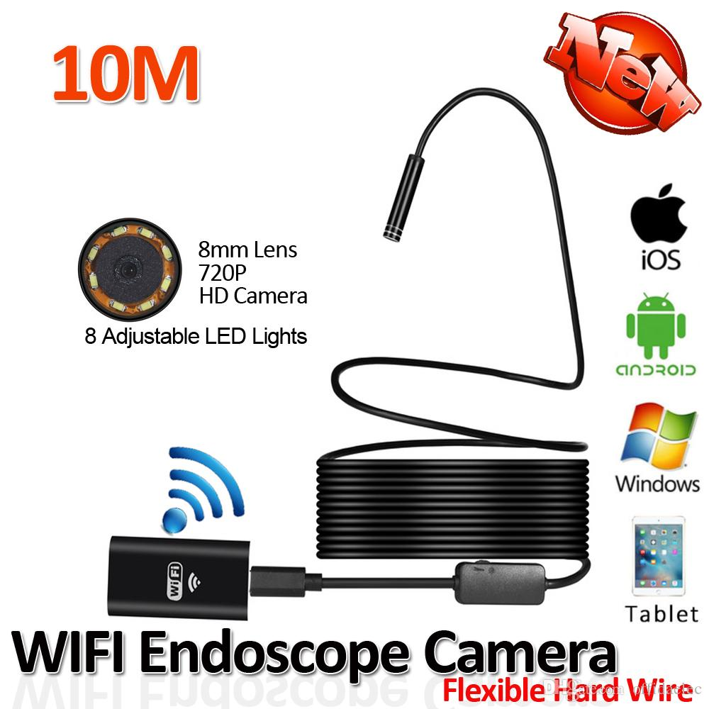2017 New 8LED 10M Hard Flexible Snake USB WIFI Android IOS Endoscope Camera  HD720P 8mm 2MP Iphone Borecope Pipe Inspection Camera