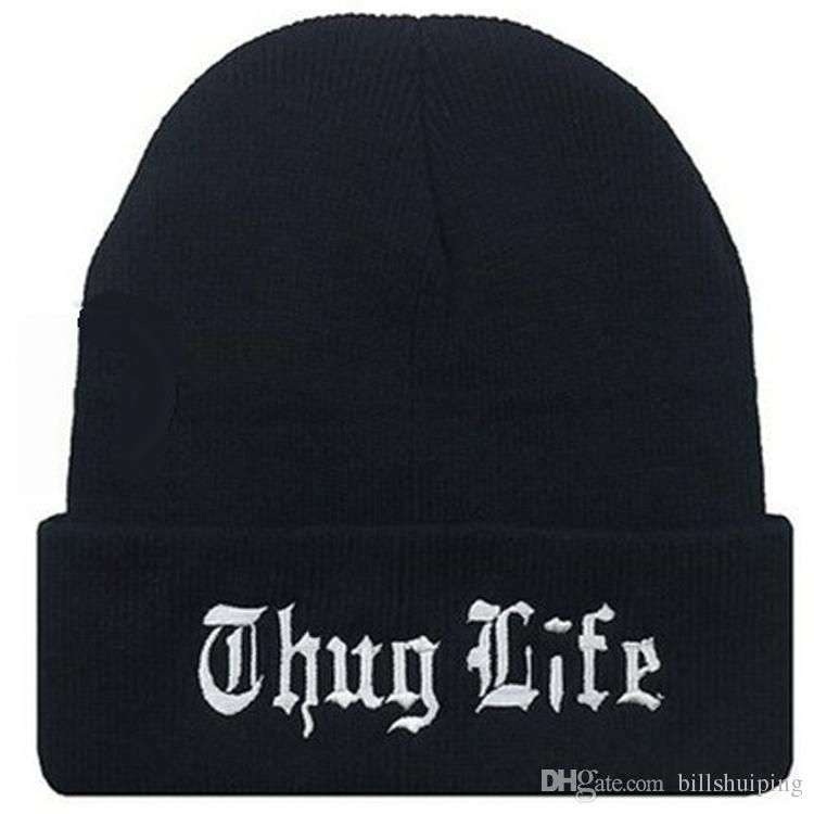 En gros Noir Lettre Chapeau pour Hommes THUG LIFE Tricoté Chapeaux Mâle Femelle D'hiver Sport Skullies Femmes Casual Casquettes