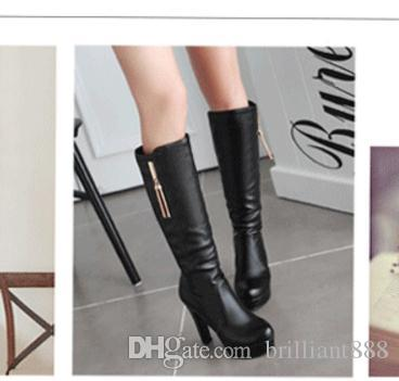 Knee boots 2017 new high-heeled female Knight high boots with thick cylinder in autumn and winter shoes