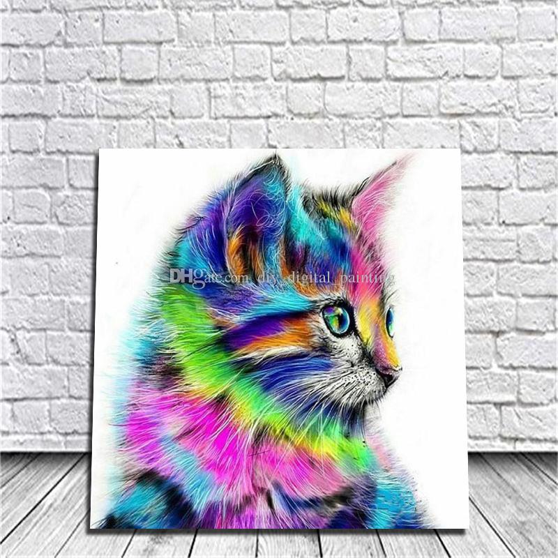 Satın Al Diy Boyama Dijital El Yağlıboya Renkli Kedi Ev Yatak Odası