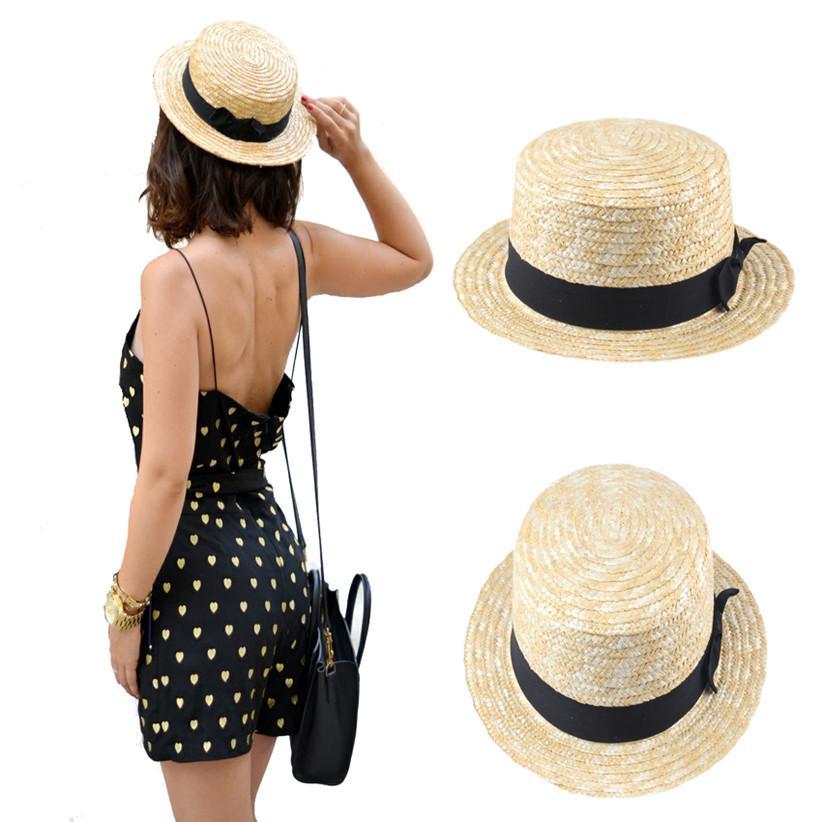Wholesale- Women Lady Boater Summer Sun Hat Beach Ribbon Round Flat Top  Beige Straw Fedora Panama Hat Good Package 20 Sun Hat Beach Sun Hat Hat  Beach Online ... 3ffff9369836