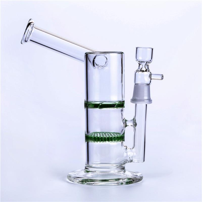 Glass Water Pipes Glass Bong Oil Rigs Two Function Honeycomb Turbine Ash Catcher Percolator Water Pipes 7 inch 18.8mm Joint Smoking Bongs