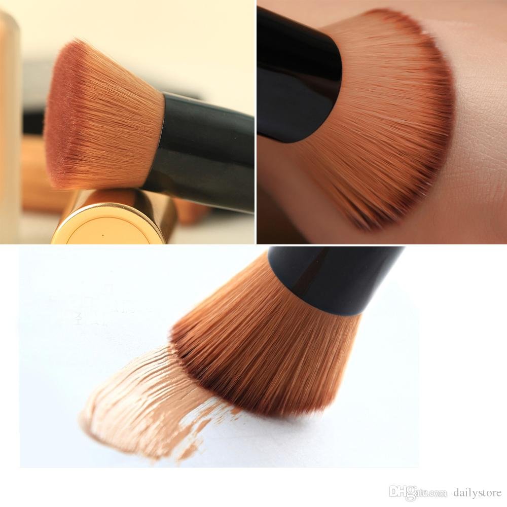 Makeup Brushes Professional Short Handle Nylon Fiber Hair Angled Flat Top Buffer Brush Bamboo Face Base Liquid Foundation Cosmetic