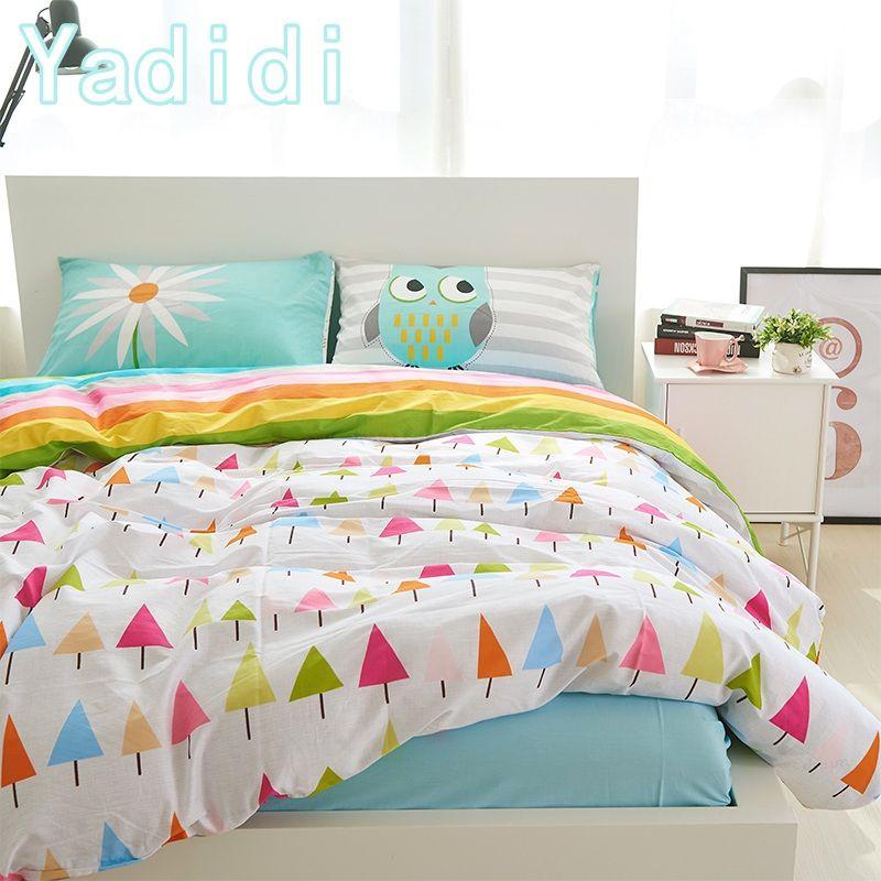 Yadidi 100% Cotton Rainbow Owl Bedding Set Modern Cartoon Chrysanthemum  Summer Home Twin Queen Size Bedclothes New Design Clearance Duvet Covers  Blue Duvet ...